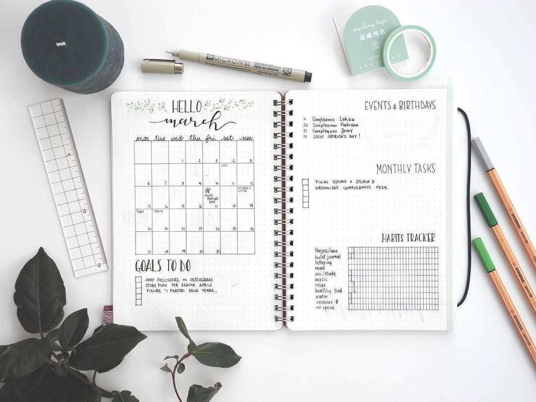 Jessica Vitali Thejessilane Auf Instagram Bulletjournalmonthlylog Of March Spring Is Approaching So L Bullet Journal Pencil Organizer Journal Stickers
