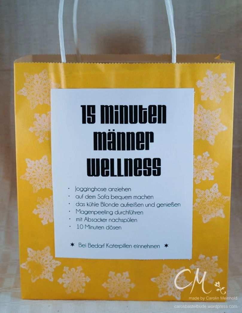 15 Minuten Manner Wellness In Der Tute Caros Bastelbude Wellness Geschenke Geschenke Zum 50 Geschenke