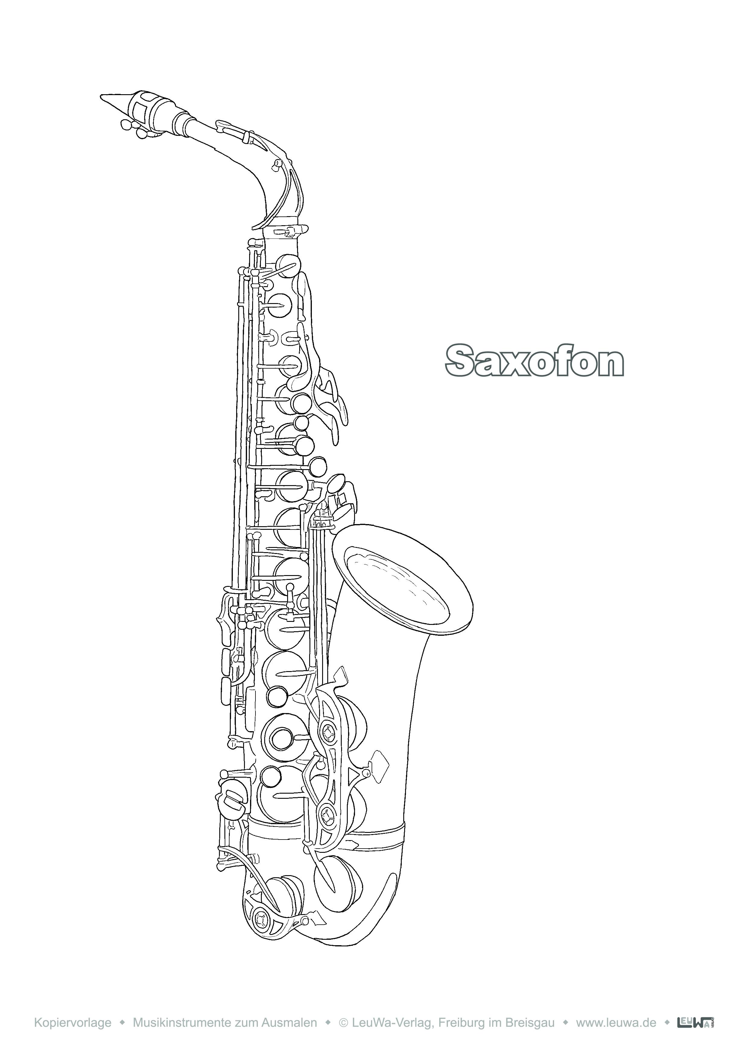 Musikinstrument Zum Ausmalen Saxofon Musikinstrumente Ausmalen Musik