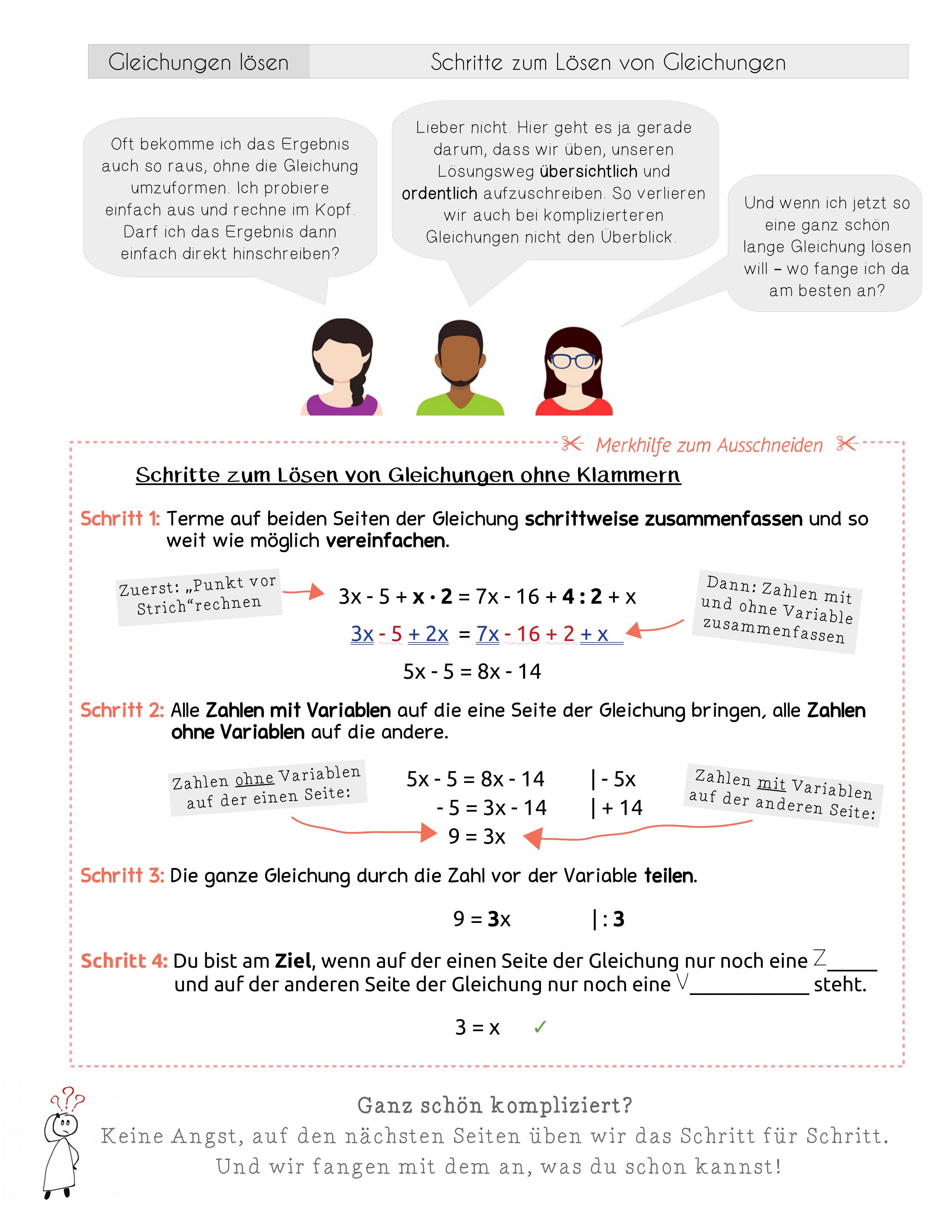 Schritte Zum Losen Von Gleichungen Ohne Klammern Unterrichtsmaterial Im Fach Mathematik Gleichungen Losen Gleichungen Mathematik