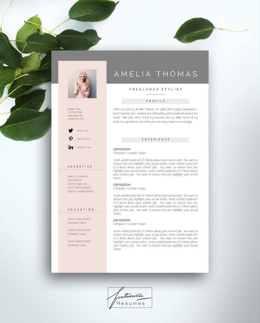Lebenslauf Vorlage 3 Seite Cv Vorlage Anschreiben Instant Download Fur Ms Word Amelia Lebenslauf Lebenslauf Design Und Lebenslaufvorlage