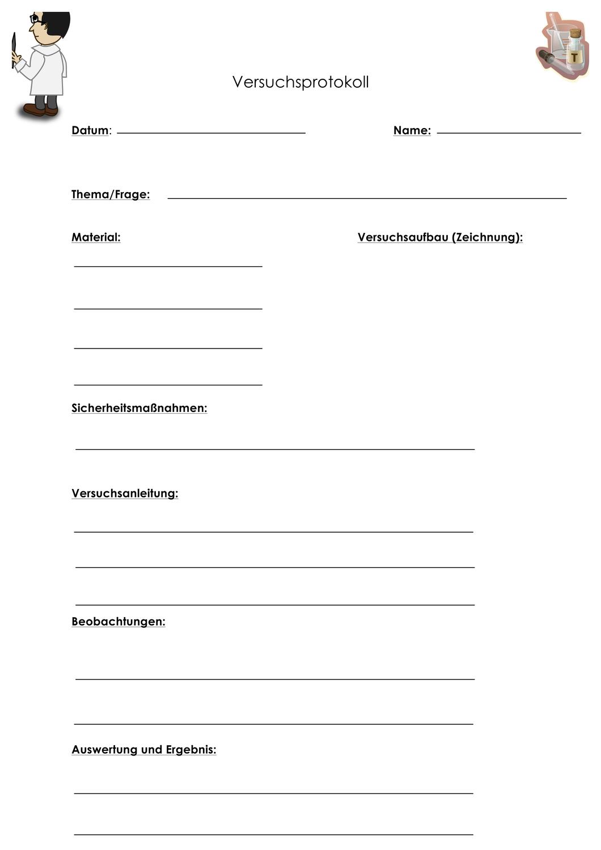 Versuchsprotokoll Vorlage Fur Jede Art Von Versuch Unterrichtsmaterial Im Fach Chemie Vorlagen Chemieunterricht Unterrichtsmaterial