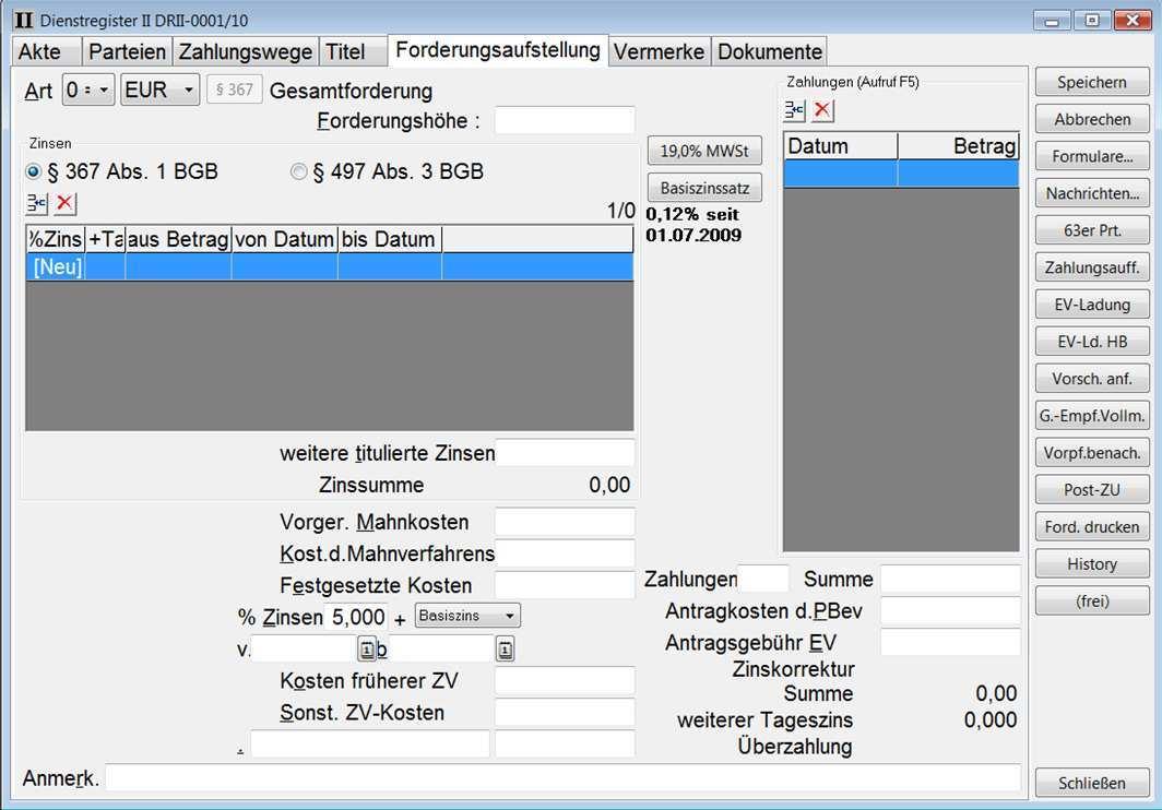 Layout Forderungsaufstellung Workshop Software Gmbh