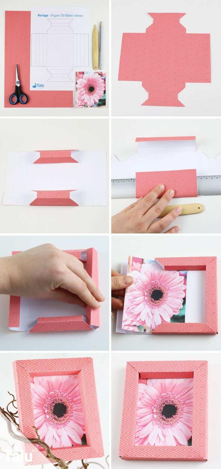 3d Bilderrahmen Selber Falten Origami Anleitung Ohne Kleber Talu De 3d Bilderrahmen Bilderrahmen Basteln Papier Bilderrahmen