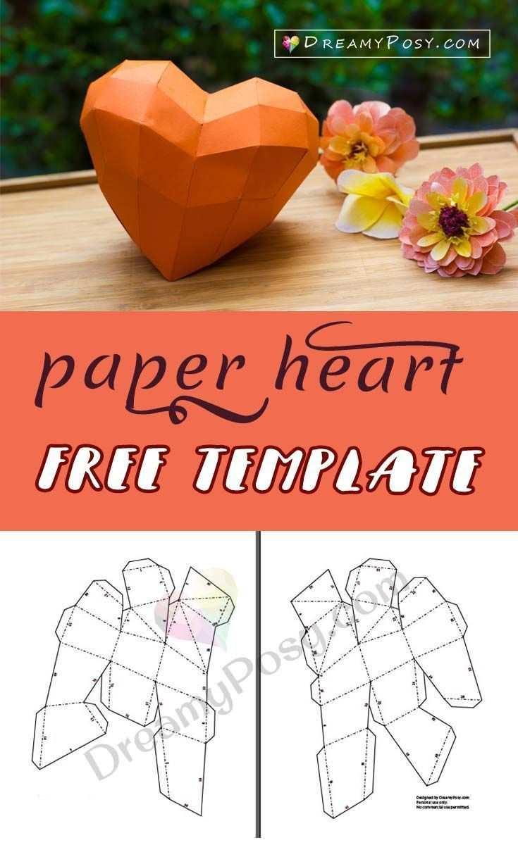 Kostenlose Papierherzschablone Ein Papierherz 3d Papierherz Valentine Diy Papier Source By Papierherzen Bastelarbeiten Aus Papier Und Pappe Papierherz