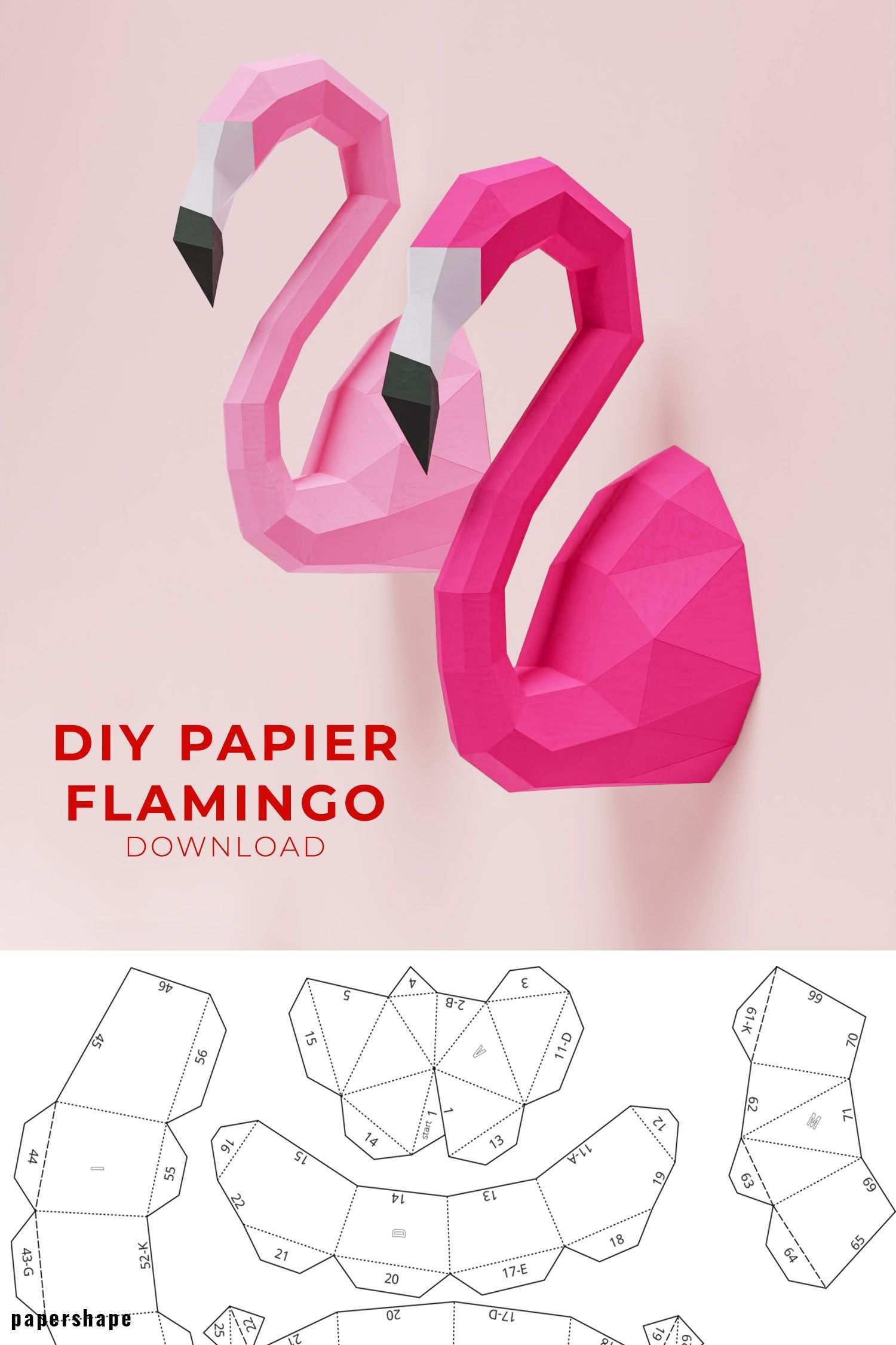 Flamingo Papier Basteln Ideen Basteln Mit Papier Anleitung 3d Papier Handwerk