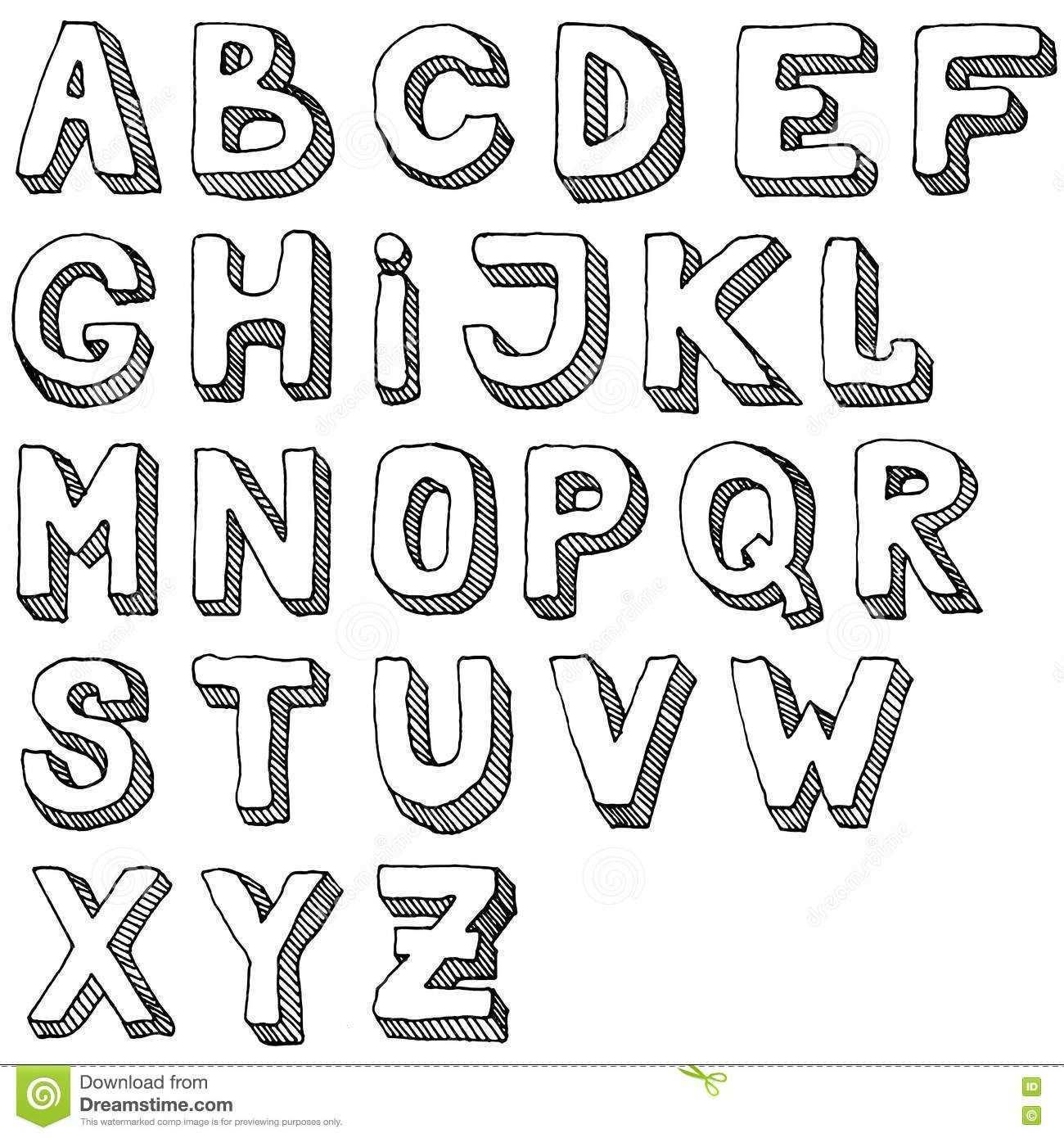 Hand Drawn Set Of Abc Letters Free Hand Alphabet Illustration 3d Doodle Stock Vector Illustration Of Pattern H Fancy Letters Lettering Lettering Alphabet