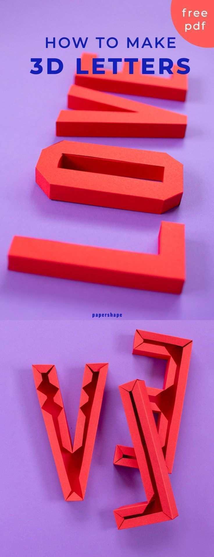 3d Love Schriftzug Basteln Mit Papier Kostenlose Vorlage Basteln Mit Papier Basteln Mit Papier Anleitung Basteln Mit Papier Falten