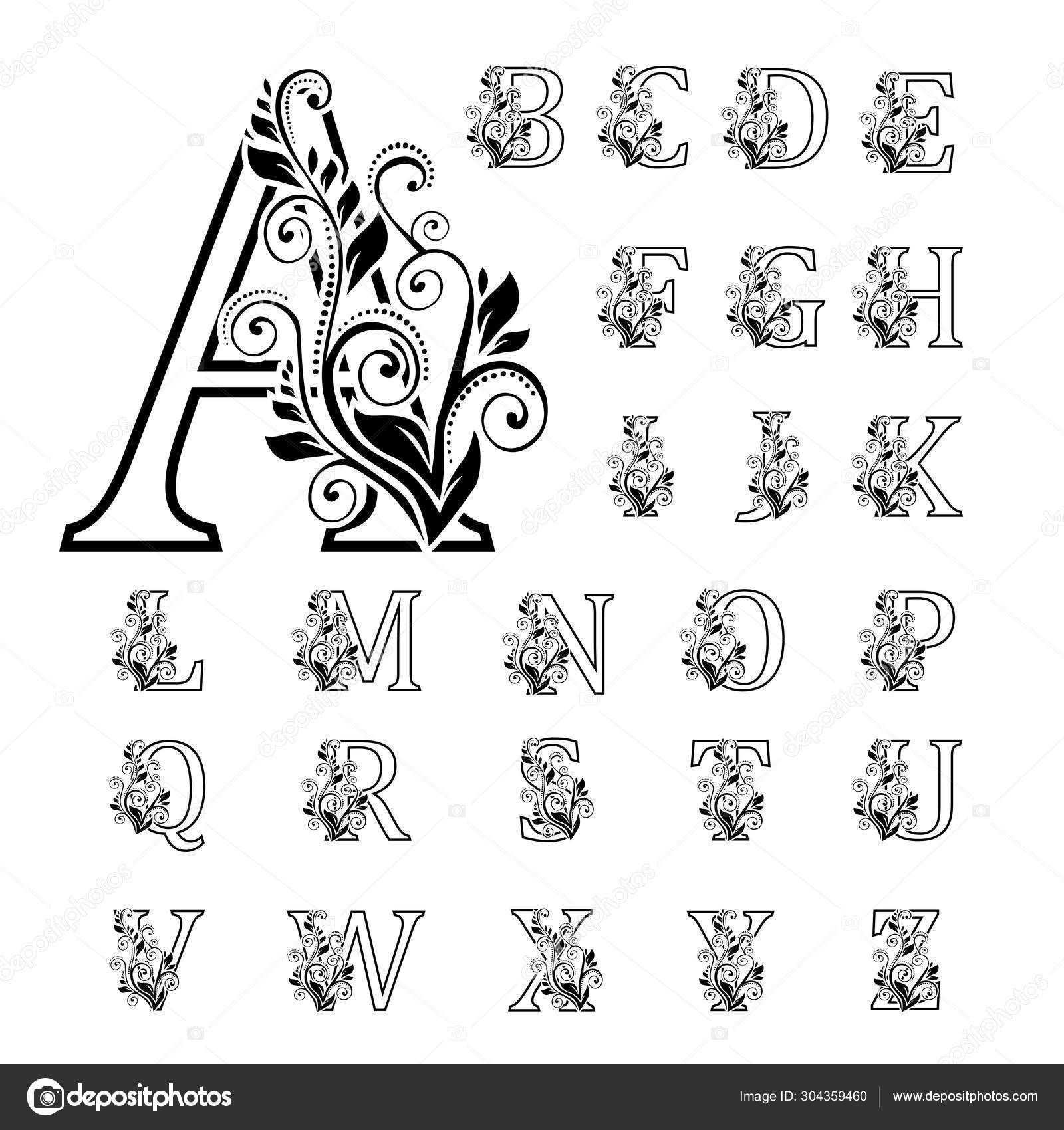 Download Elegant Alphabet With Bouquet Initial Letters With B In 2020 Buchstaben Zeichnen Blumen Buchstaben Handgezeichnete Blumen