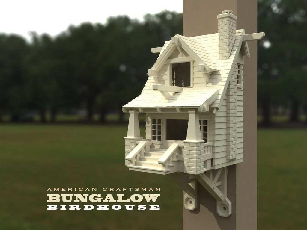 3d Vorlage Amerikanisches Bungalow Vogelhauschen Vogelhaus Ideen 3d Drucker Vorlagen 3d Drucker