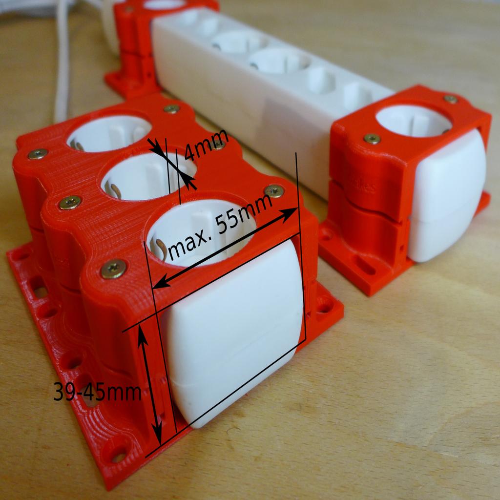 Robust Power Strip Mount By Akimakes Thingiverse 3d Drucker Diy Projekte Fur Manner 3d Drucker Vorlagen