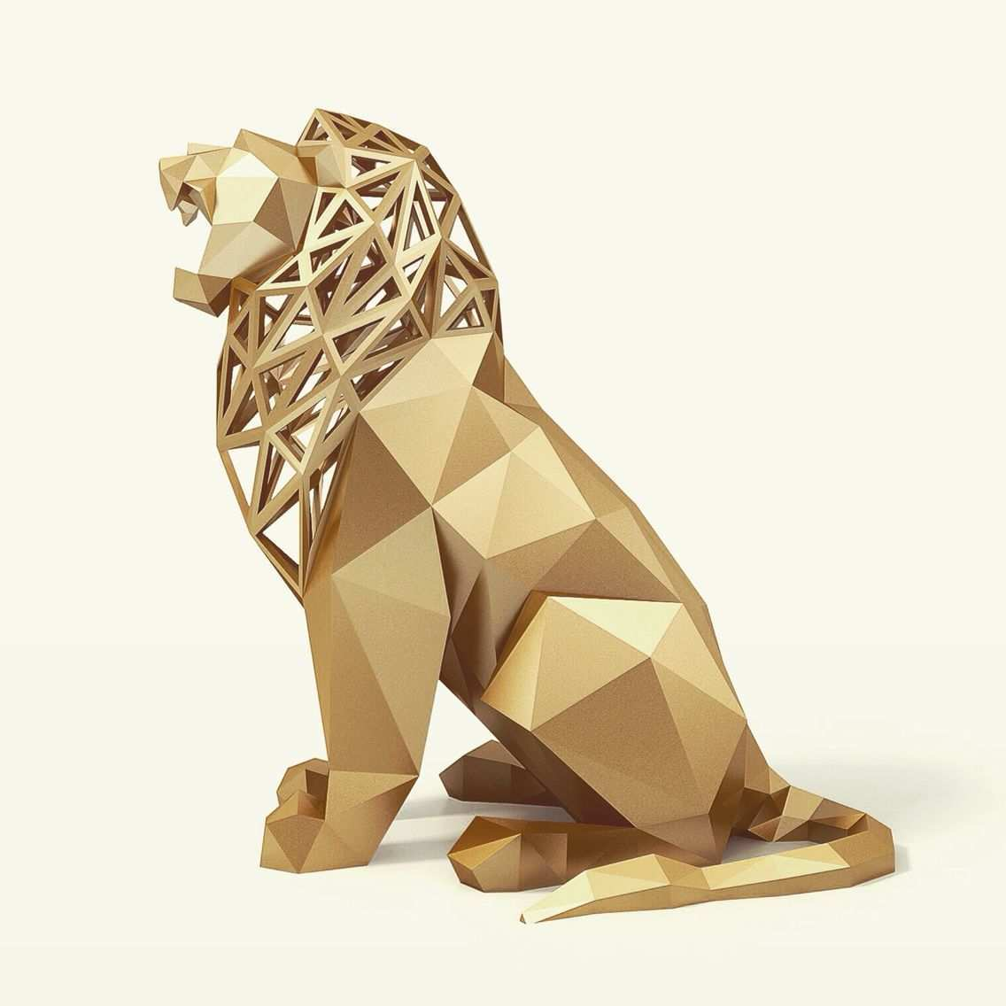 Roaring Lion By Formbyte On Shapeways 3d Printing Art Paper Sculpture Geometric Animals