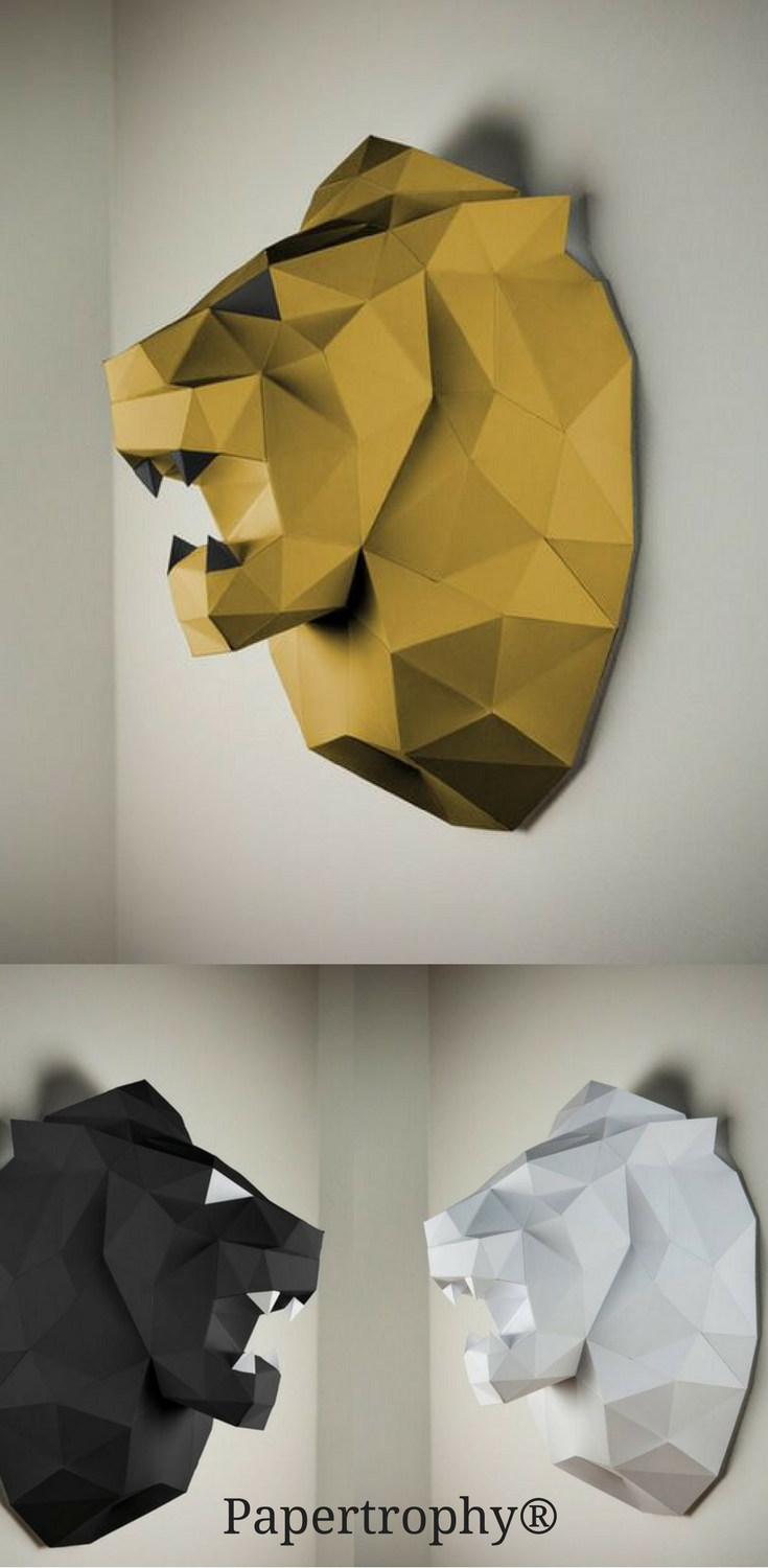 This Papertrophy Lion Is A Great Decoration For Your Empty Walls Papier Tiere