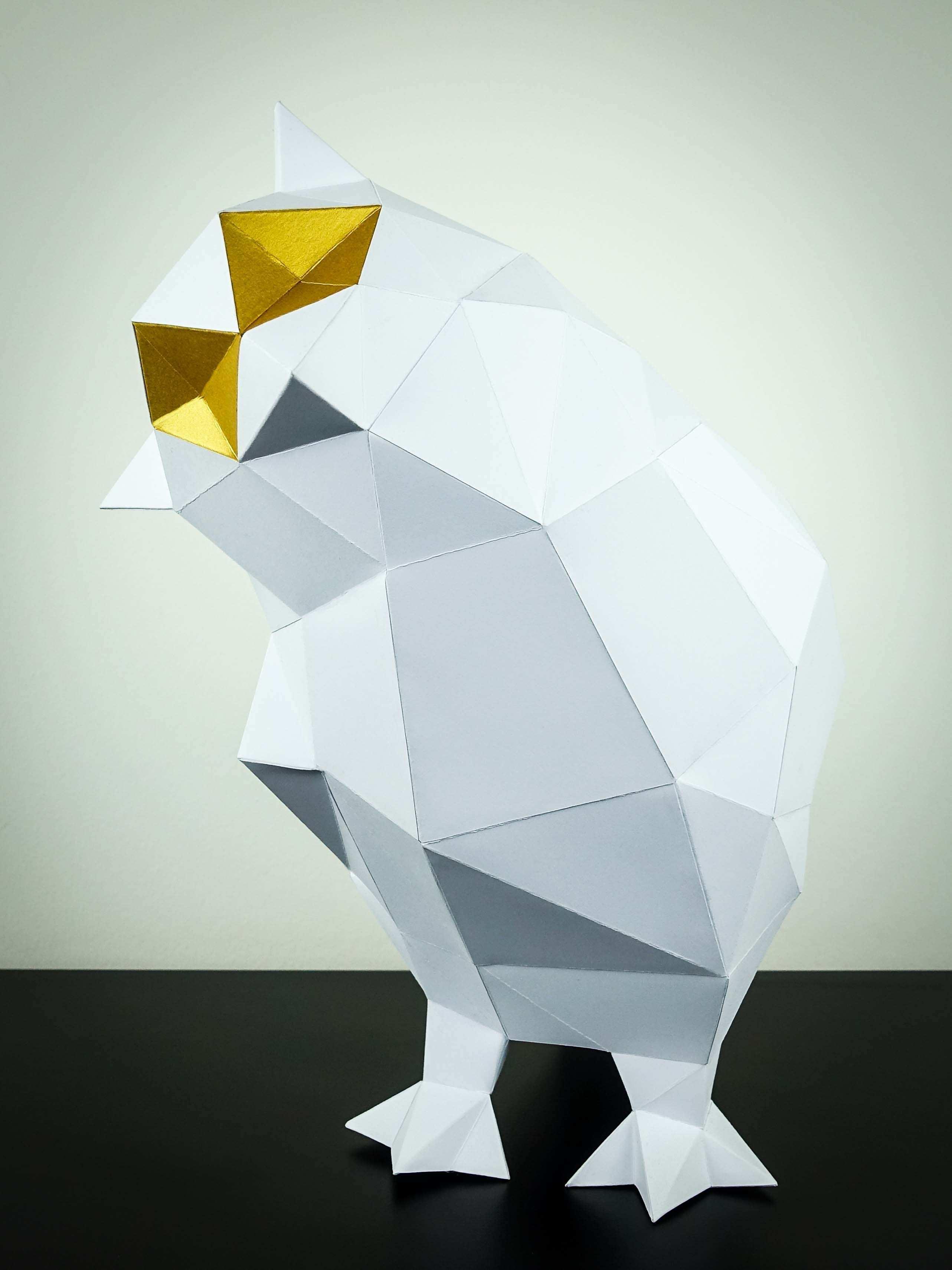 Eule Weiss Gold Papier Tiere Eule Basteln