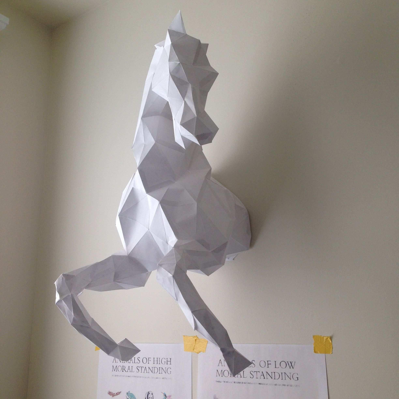 Wild Horse Head Papercraft Model Diy Template For More Info Visit Www Pazzlediy Com Bastelarbeiten Geometrische Figuren Bastelideen