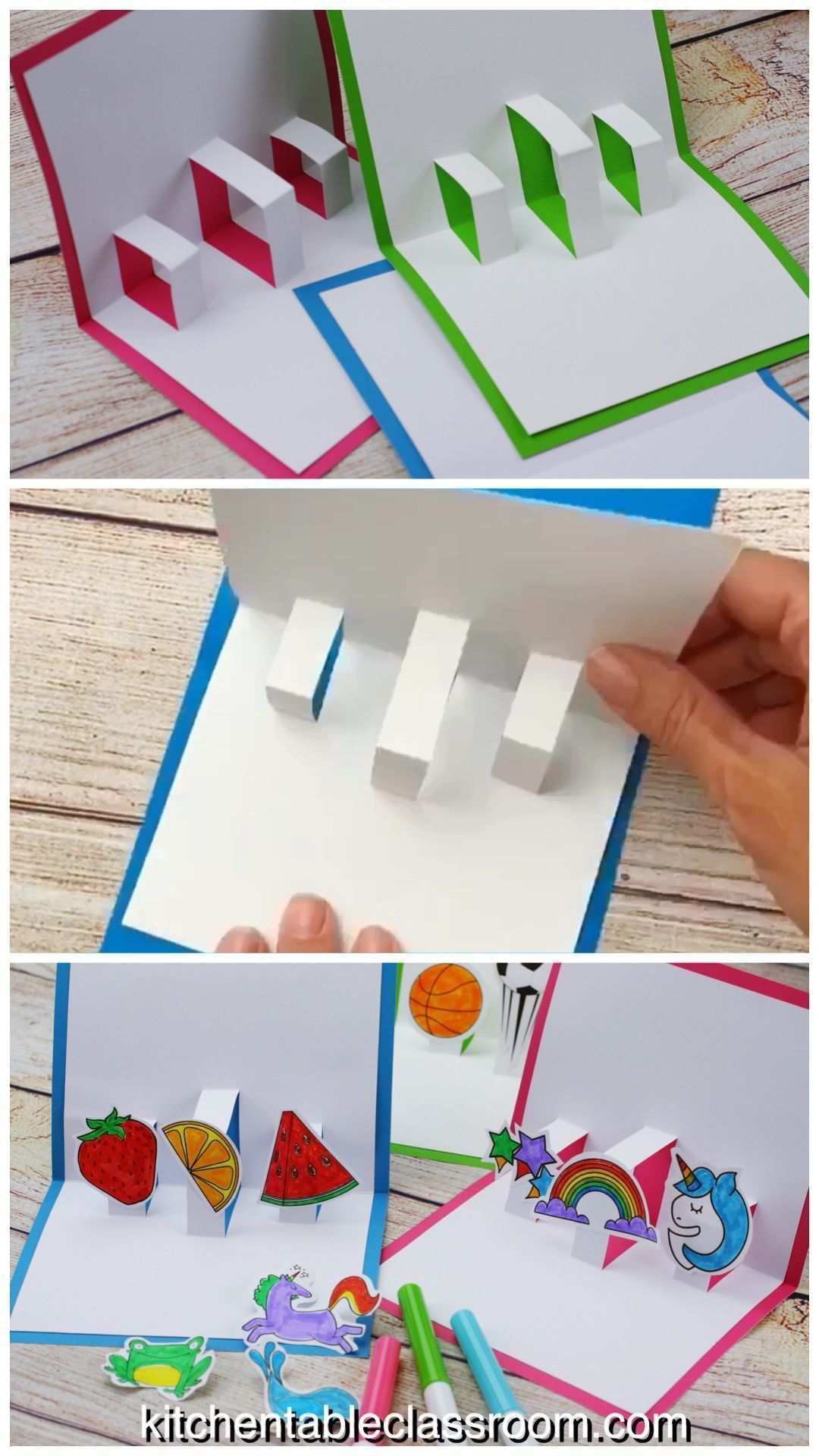 Build Your Own 3d Board With Free Pop Up Board Templates The Kitchen Table Classroom Pop Up Karten Vorlagen Pop Up Karte Basteln Karten Basteln