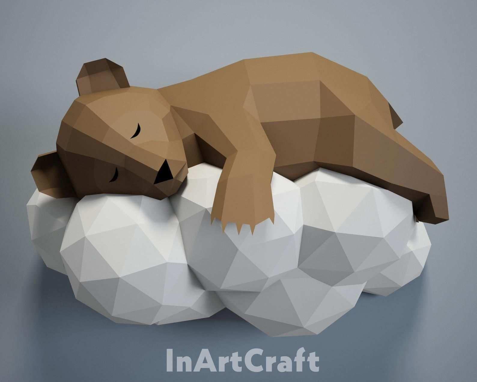Pdf Papercraft Bar Auf Einer Wolke Papier Handwerk 3d Origami Etsy Paper Sculpture Papercraft Templates 3d Paper Crafts