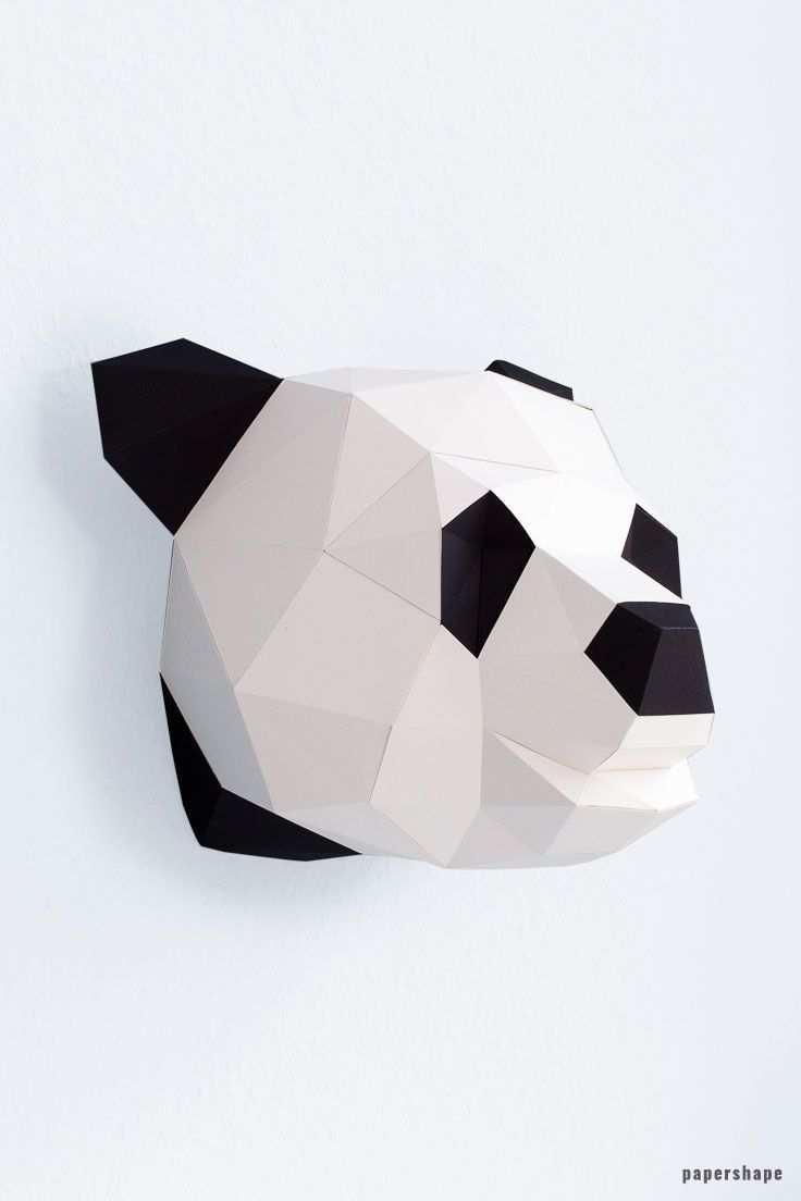 Panda Papiertier 3d Origami Anleitung Tiere Origami Wandkunst Papierskulptur