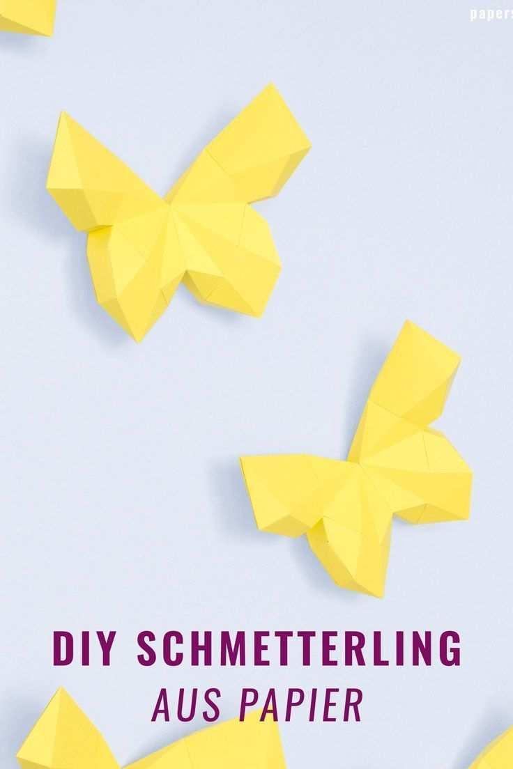 3d Schmetterling Basteln Als Wanddeko Mit Vorlage Schmetterlinge Basteln Basteln Mit Papier Falten Basteln Mit Papier Anleitung