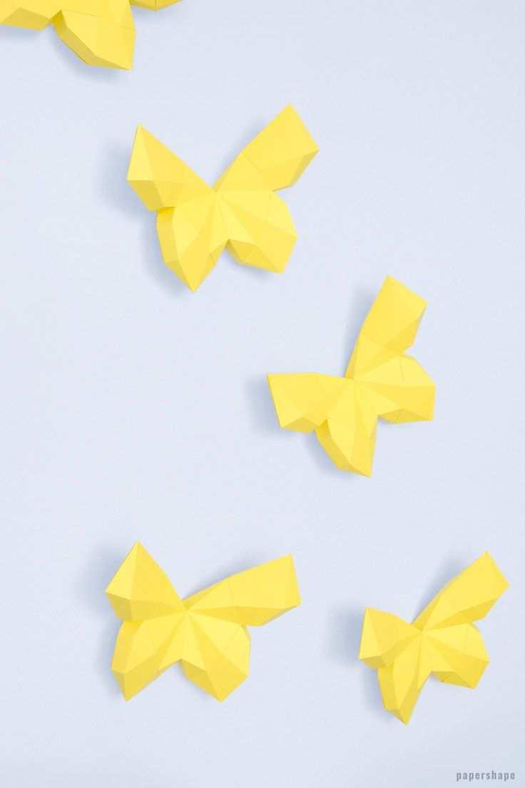 3d Schmetterling Basteln Als Wanddeko Mit Vorlage Schmetterlinge Basteln Basteln Mit Papier Falten Basteln