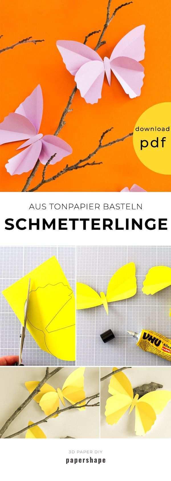 Einfache Schmetterlinge Aus Tonpapier Basteln Mit Vorlage Schmetterlinge Basteln Tulpen Basteln Basteln Mit Tonpapier