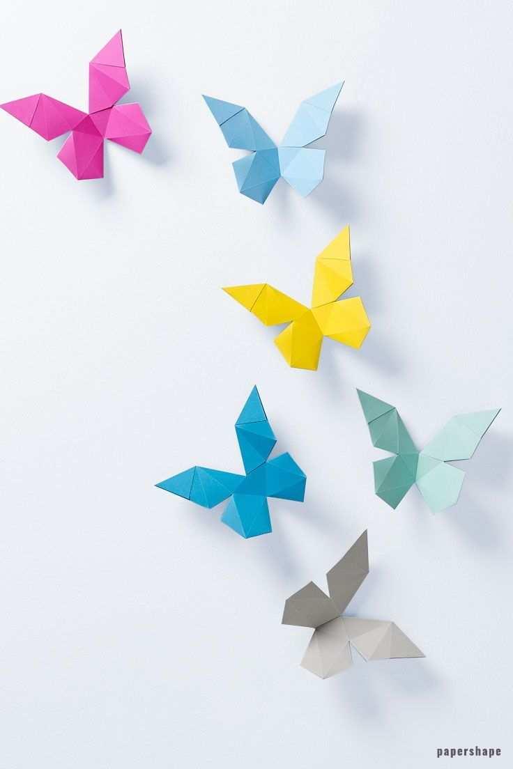 3d Papier Schmetterlinge Selber Machen Papierschmetterlinge Basteln Mit Papier Falten Basteln Mit Papier Origami