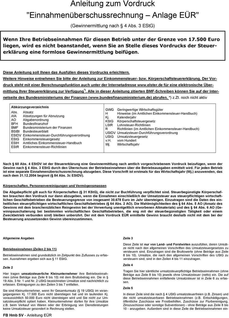 Anleitung Zum Vordruck Einnahmenuberschussrechnung Anlage Eur Pdf Free Download
