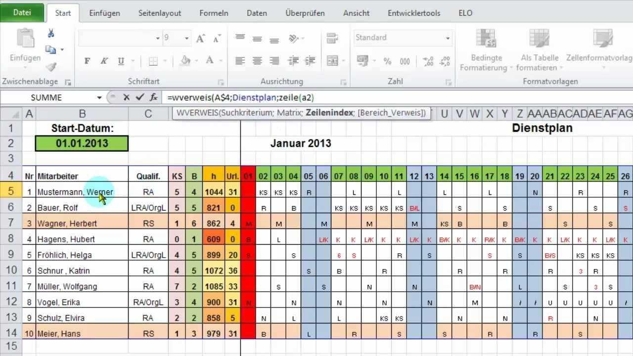 Excel Monatsubersicht Aus Jahres Dienstplan Ausgeben Per Wverweis Dienstplan Excel Vorlage Excel Tipps