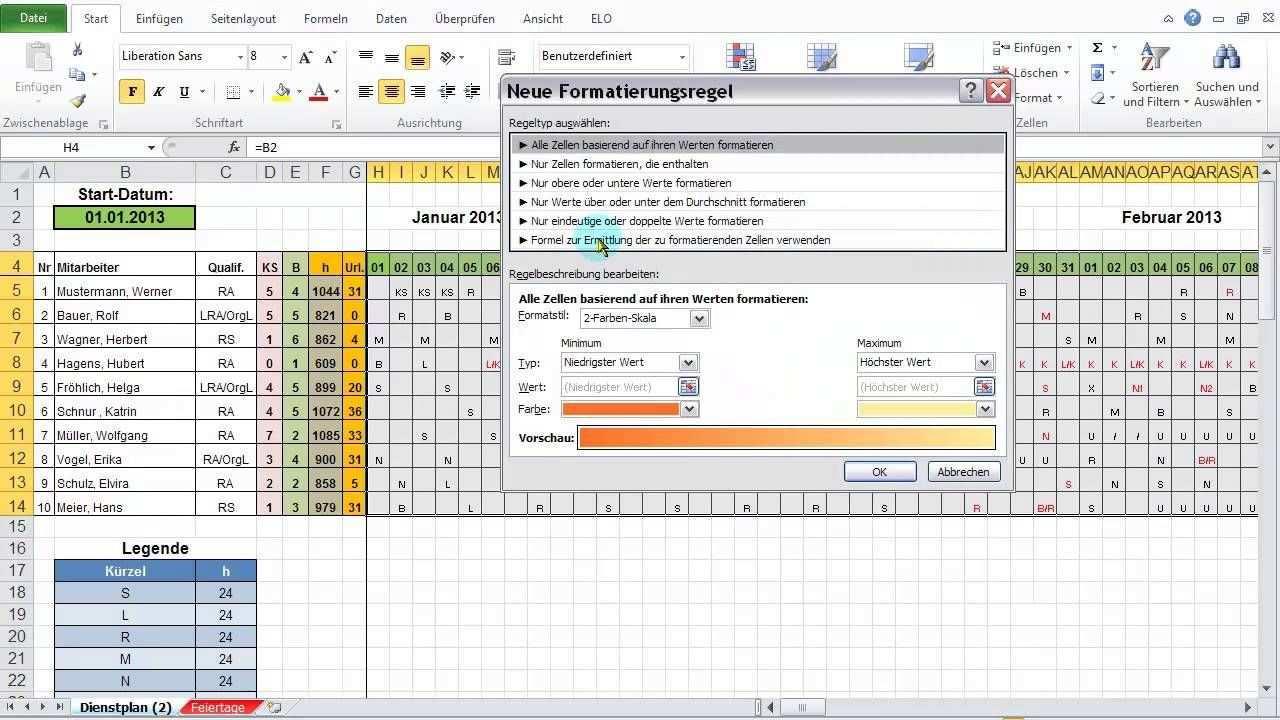 Excel 2010 Feiertage Wochenenden Im Dienstplan Darstellen Mit Bedingt Buroorganisation Tipps Dienstplan Planer