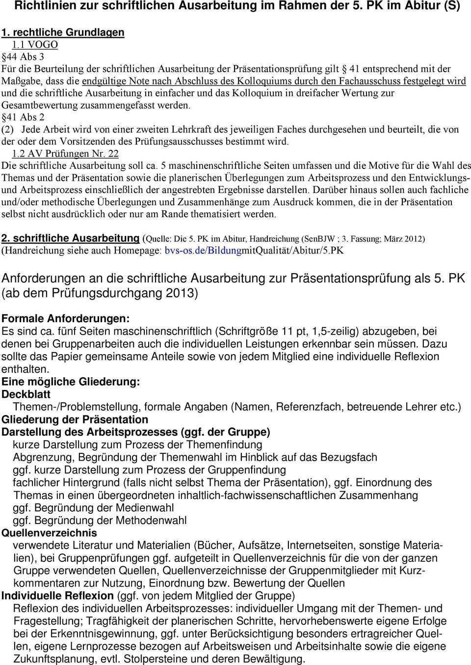 Anforderungen An Die Schriftliche Ausarbeitung Zur Prasentationsprufung Als 5 Pk Ab Dem Prufungsdurchgang 2013 Pdf Free Download