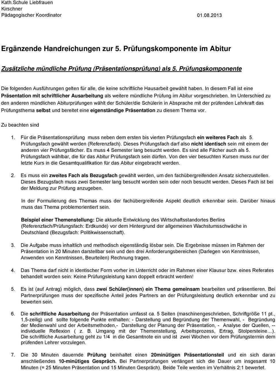 Erganzende Handreichungen Zur 5 Prufungskomponente Im Abitur Pdf Free Download