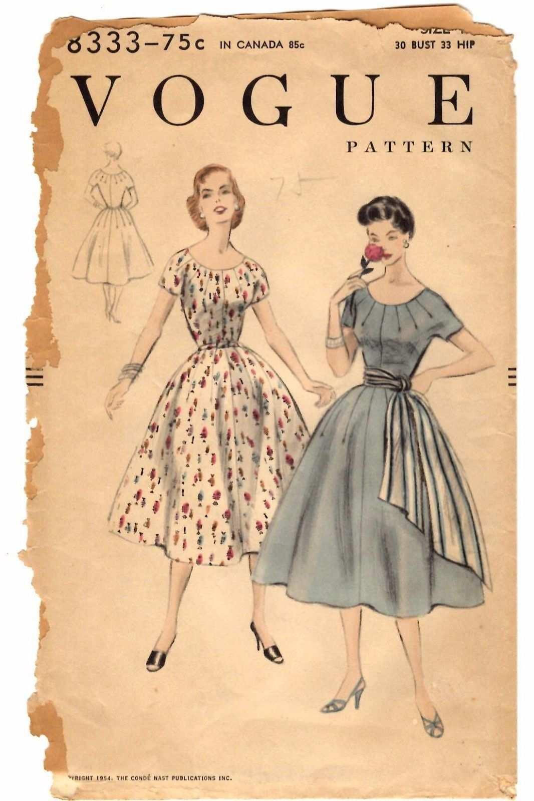 1950s Vogue Sewing Pattern Women S Dress Vintage Schnittmuster 50er Jahre Mode Kleiderschnitte