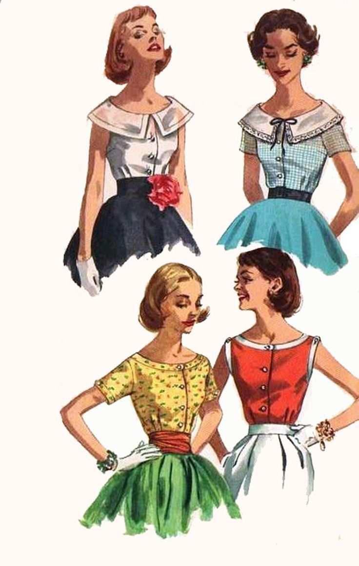 Vintage 1950er Jahre Rundhalsausschnitt Set Sommerblusen Schnittmuster Einfachheit 2062 Rocka Schnittmuster 50er Jahre Mode Vintage