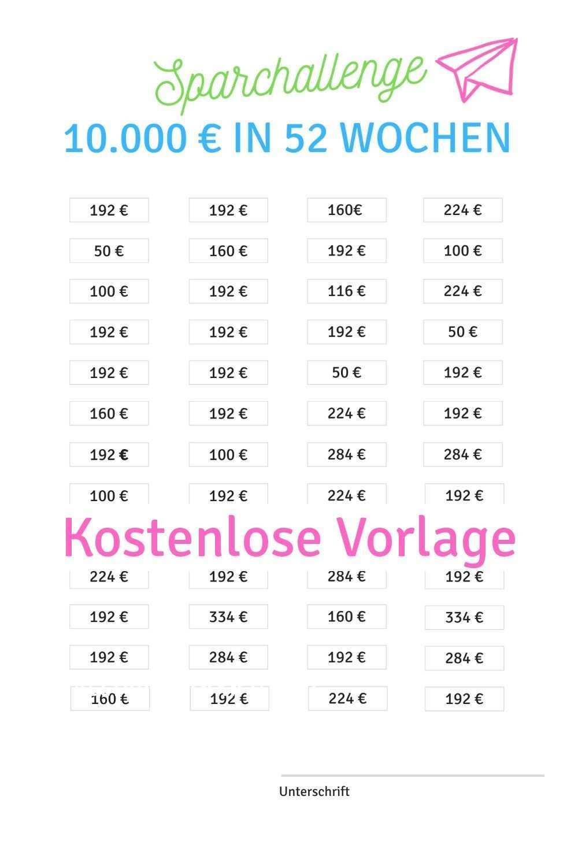 Sparchallenge 10 000 Euro In 52 Wochen 52 Wochen Sparen Geld Sparen 52 Wochen