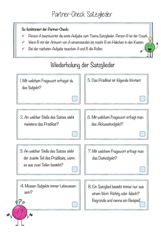 Satzglieder Der Partner Check Unterrichtsmaterial In Den Fachern Daz Daf Deutsch Satzglieder Lehrperson Unterrichtsmaterial