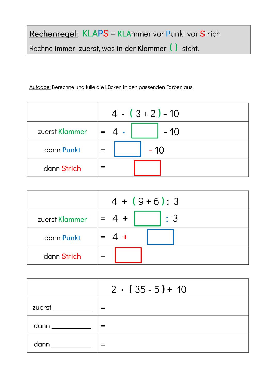 Arbeitsblatt Zur Einfuhrung Der Rechenregel Klaps Klammern Vor Punkt Vor Strich Unterrichtsmaterial Im Fach Mathematik Arbeitsblatter Mathematikunterricht Rechnen
