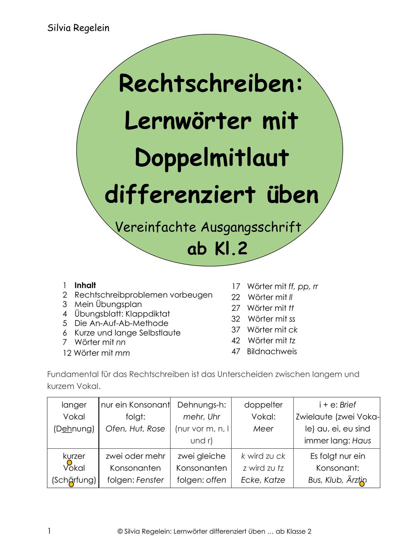 Rs Lernworter Mit Doppelmitlaut Differenziert Uben Va Unterrichtsmaterial In Den Fachern Daz Daf Deutsch Lernen Mitlaut Wort