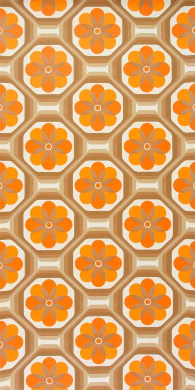 Original 70er Jahre Tapete Mit Geometrisch Floralem Muster Das Papier Dieser Tapete Ist Glatt Und Von Gute Tapeten Der 70er Vintage Tapete Geometrische Tapete