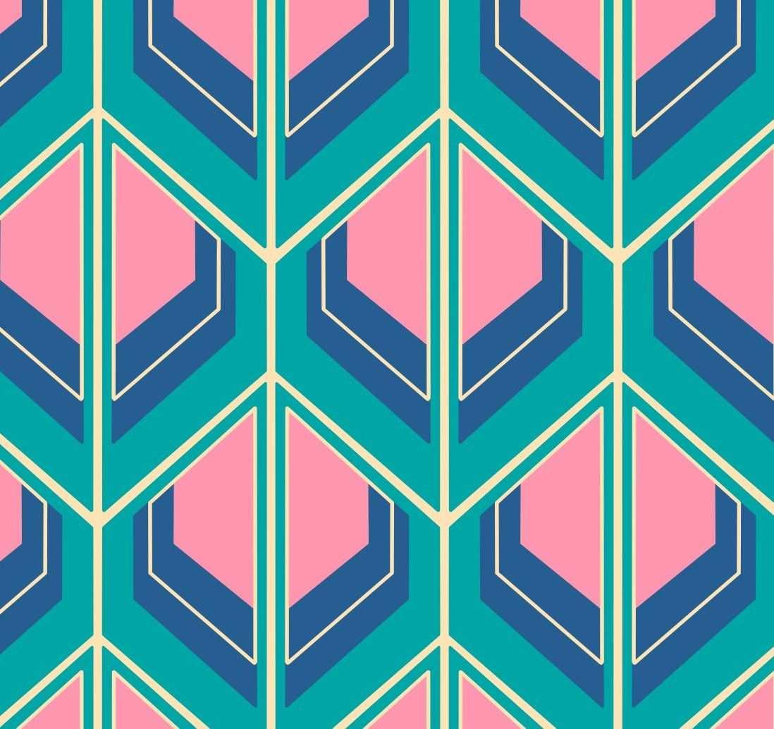 Retro Stoff Von Fummelhummel Kauflich Auf Stoffn 70er 60er Blau Turkis Rosa Pink Beige Geometrisch Geometrie Tapete Fabr Abstract Artwork Vintage Love Artwork