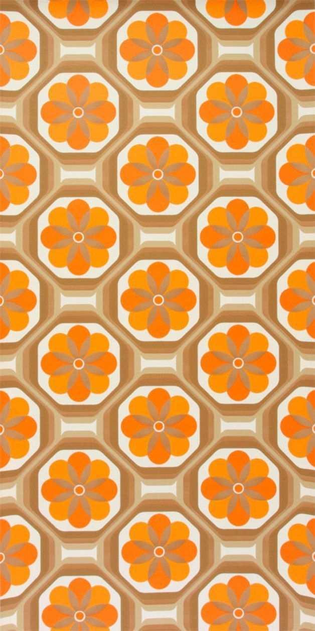 Original 70er Jahre Tapete Mit Einem Geometrischen Floralen Muster Das Papier Dieses Tages Tapeten Der 70er Vintage Tapete Geometrische Tapete