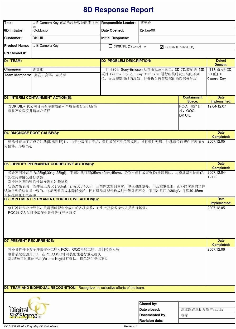 D Report Vorlage Sinnreich D Report Template Templates Station Intended For 8d Report Format Template 10 Pro Report Template Templates Report Writing Format