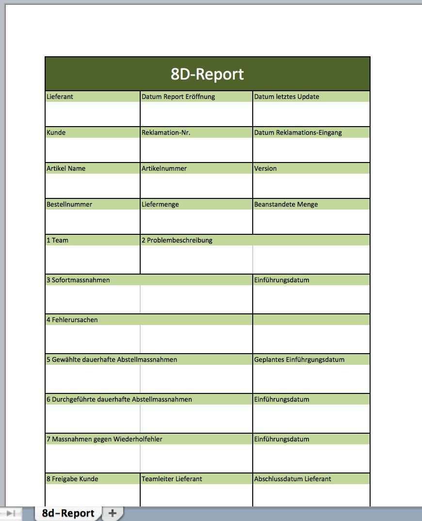 The Marvellous 17 8d Report Vorlage Word Herunterladen 8d Report Vorlage Intended For 8d Report Template Xls In 2020 Report Template Templates Professional Templates