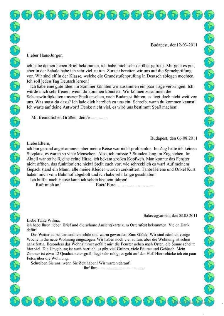 Briefe Schreiben Deutsch Schreiben Lernen Briefe Schreiben Sms Schreiben