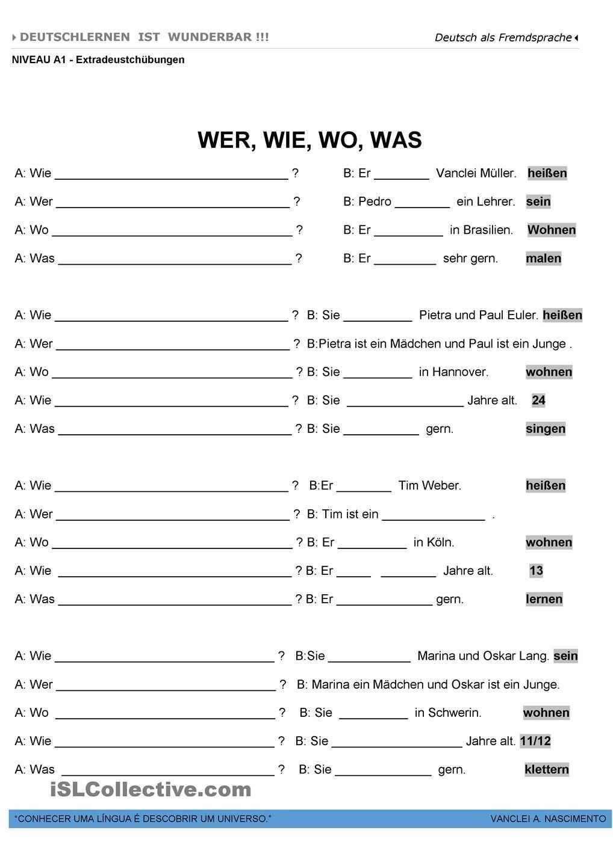 A1 W Fragen W Fragen Deutsche Grammatik Deutsch Lernen