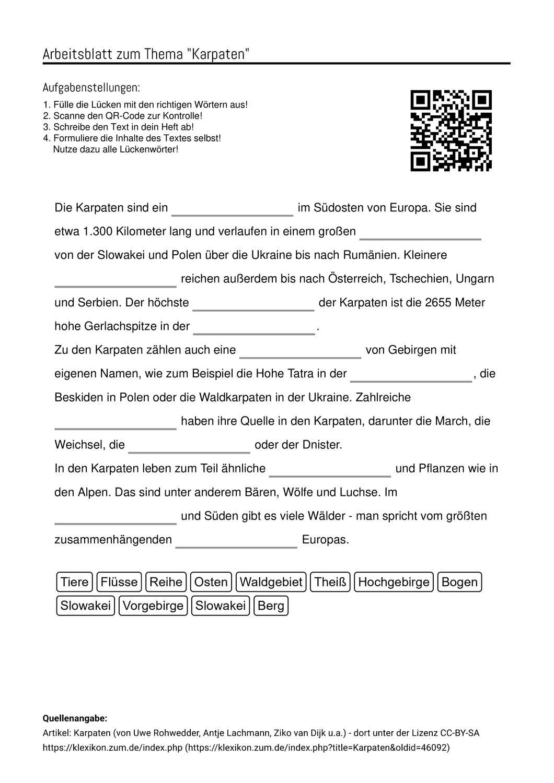 Arbeitsblatter Zum Thema Aufgabenstellung Arbeitsblatter Deutsch Lernen