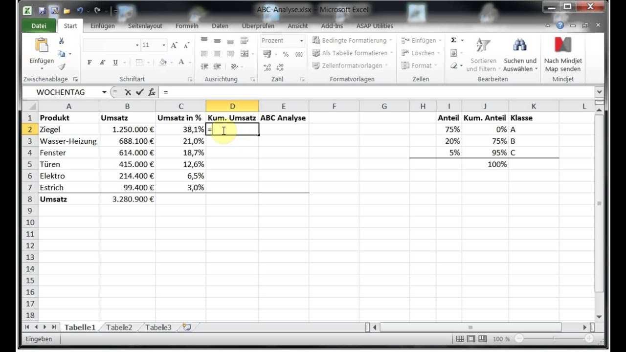 Beispiel Abc Analyse Mit Excel 2010 2013 2016 2019 365 Youtube