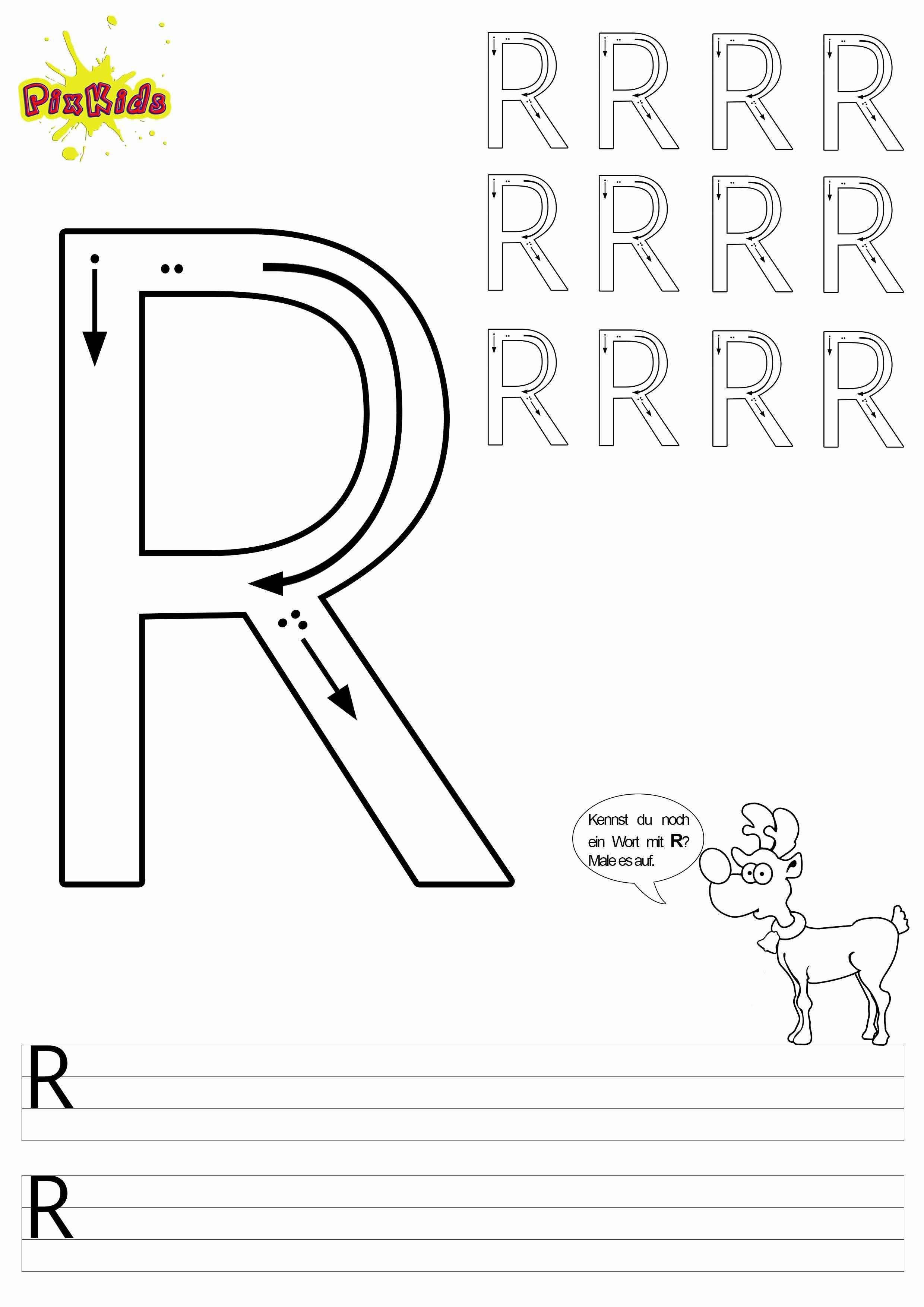 Vorlage Arbeitsblatt Schreiben Lernen Grundschule Vorschule Buchstaben Grossbuchstabe R Schreiben Lernen Buchstaben Lernen Arbeitsblatter