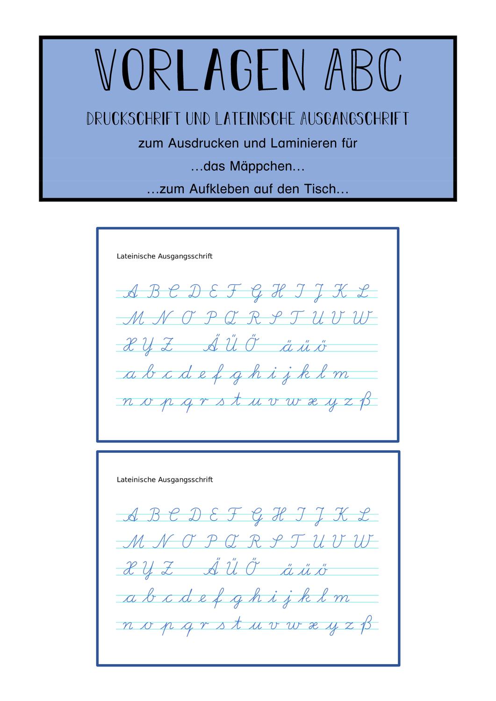 Vorlage Abc Schreibschrift Und Druckschrift Zum Ausdrucken Und Laminieren Unterrichtsmaterial In Den Fachern Daz Daf Deutsch Druckschrift Lateinische Ausgangsschrift Abc