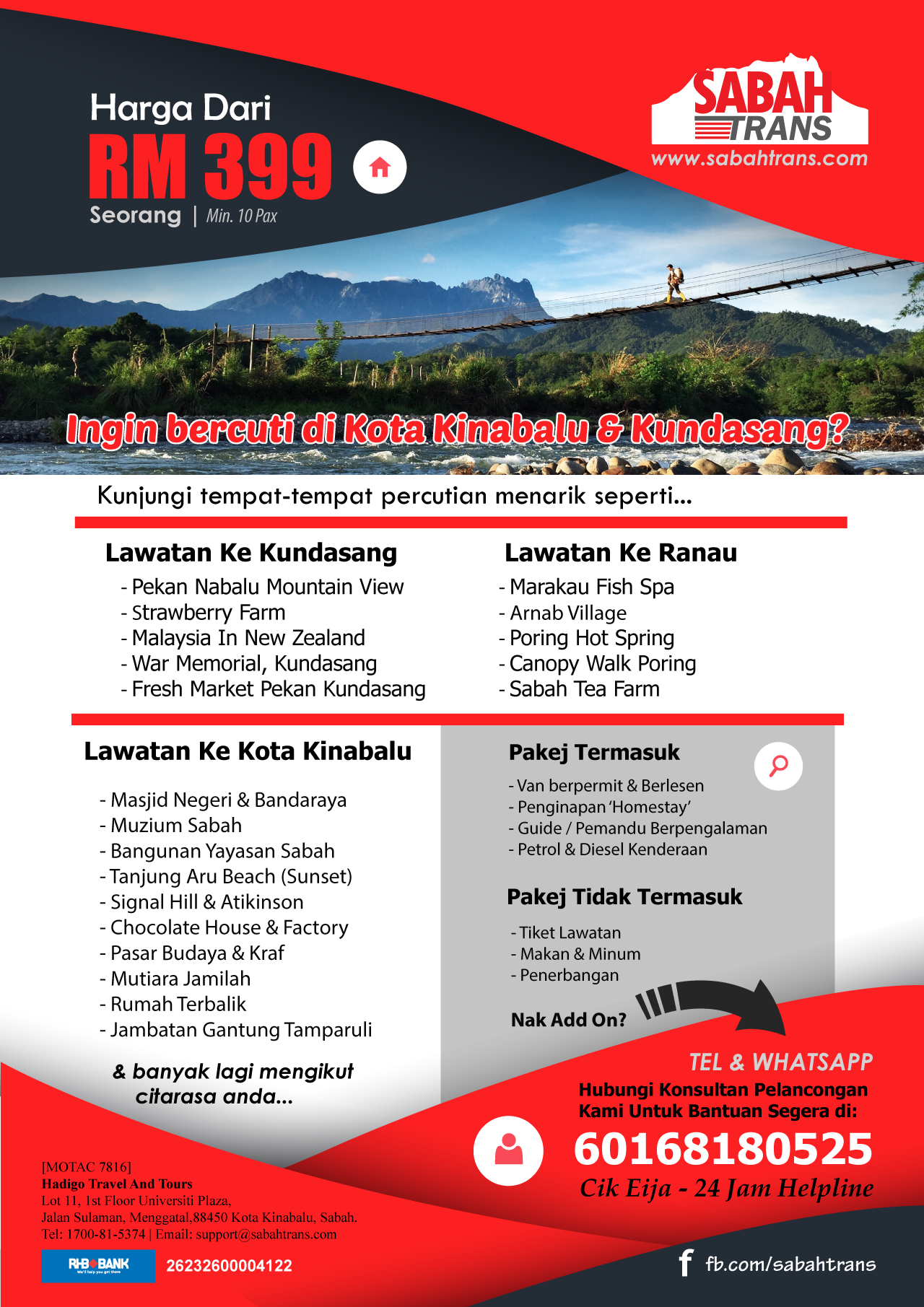 Bm Peluang Anda Dan Kumpulan Untuk Bercuti Di Kota Kinabalu Kundasang Sabah Www Sabahtrans Com Car Lease Sabah Tourism