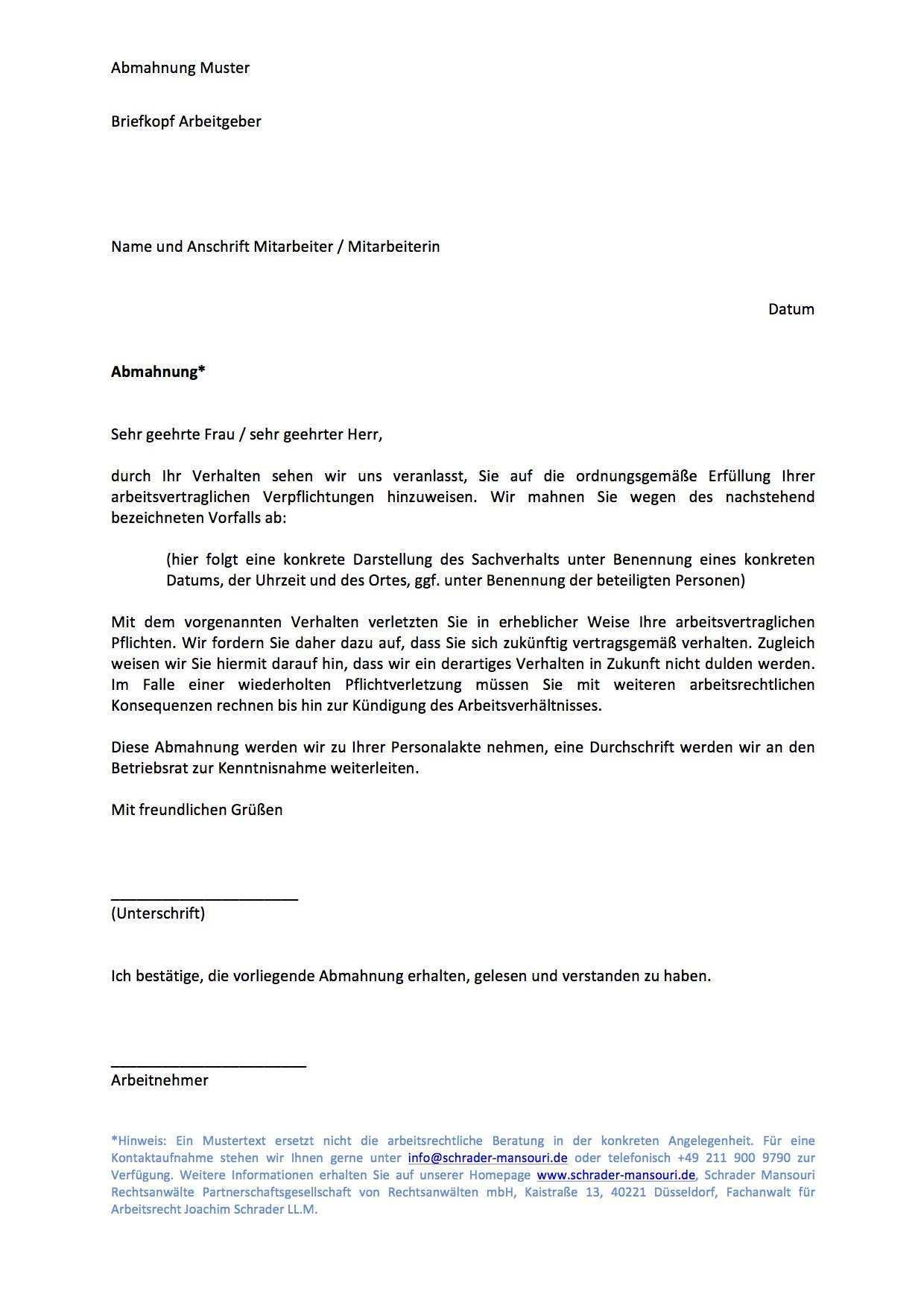 Download Abmahnung Muster Vorlage Schrader Mansouri Rechtsanwalte Mbb